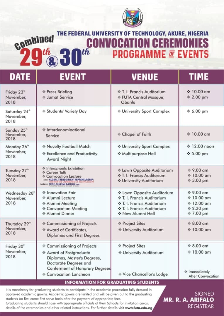 FUTA Convocation Ceremonies Programme