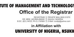 IMT / UNN Degree Post UTME Screening Form 2019/2020