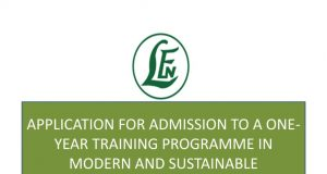 Leventis Foundation Admission Form into a One-year Training Programme in Modern & Sustainable Agriculture 2019/2020 [Free Feeding/Tuition]